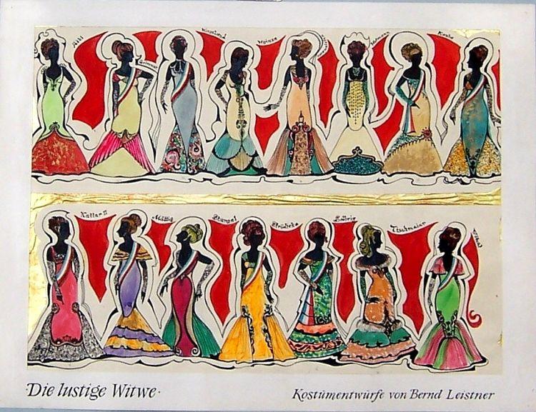 Die lustige Witwe, 1969<br>Figurinen, Bühnen Zwickau
