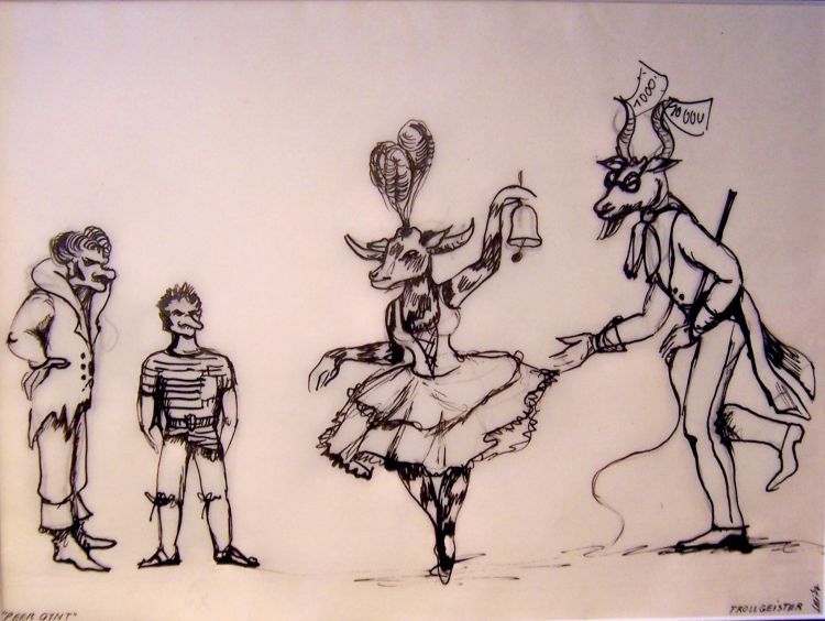 Peer Gynt, 1966<br>Skizze für Trolle, Theater Stralsung